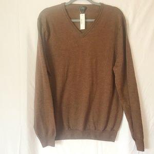 J. Crew V-Neck Chocolate Merino Wool Sweater SZ L